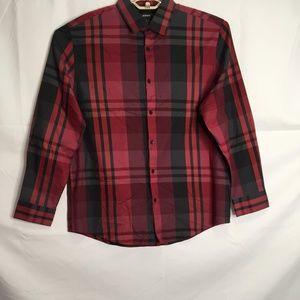 Alfani Plaid Long Sleeve Button Down Shirt Size L